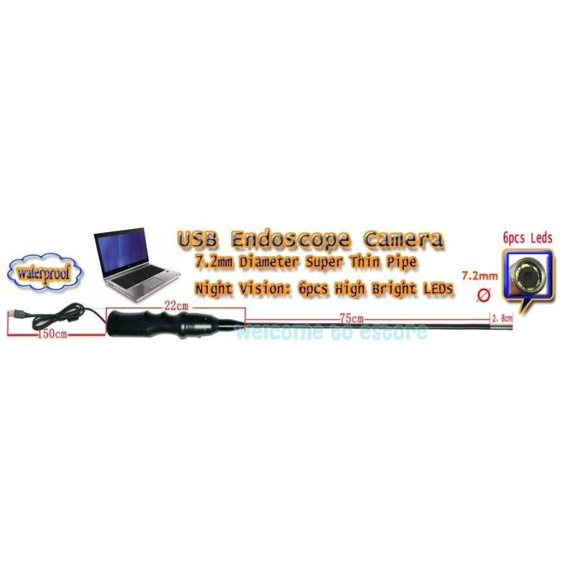 eeb9aa8696e ... ENDOSKOOP MEHAANIKULE D7.2 MM KAAMERA 6 LED VALGUSTIGA USB VEEKINDEL