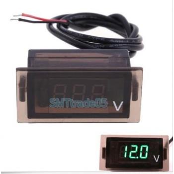 DIGITAALNE LED VOLTMEETER PANEELILE ROHELINE 12-24VDC 47X23
